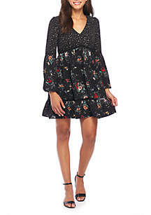 Floral and Star Print Woven Dress