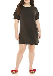 Short Ruffle Sleeve Dress