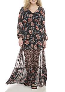 Plus Size Twin Print Maxi Dress