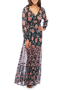 Mixed Print Long Sleeve Maxi Dress