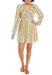 Wonderly Long Sleeve Button Front Dress