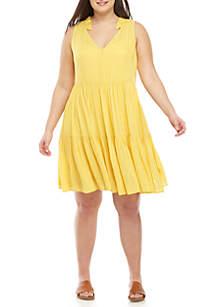 bb6dd609a4c ... Wonderly Plus Size Sleeveless Tiered Dress
