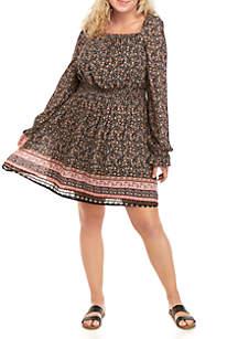 Wonderly Plus Size Square Neck Peasant Dress
