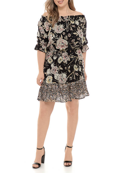 Plus Size Off the Shoulder Printed Dress