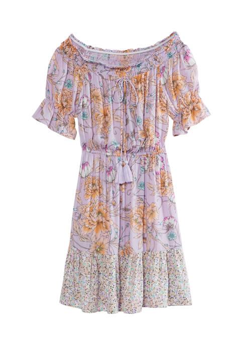 Juniors Off-the-Shoulder Cinched Dress