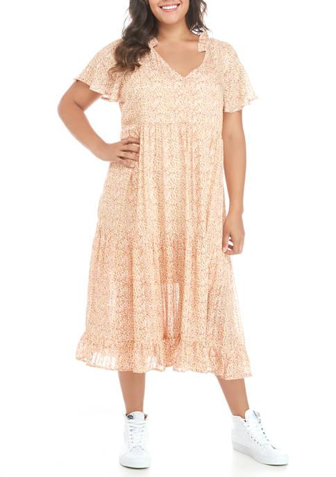Plus Size Tiered Midi Dress