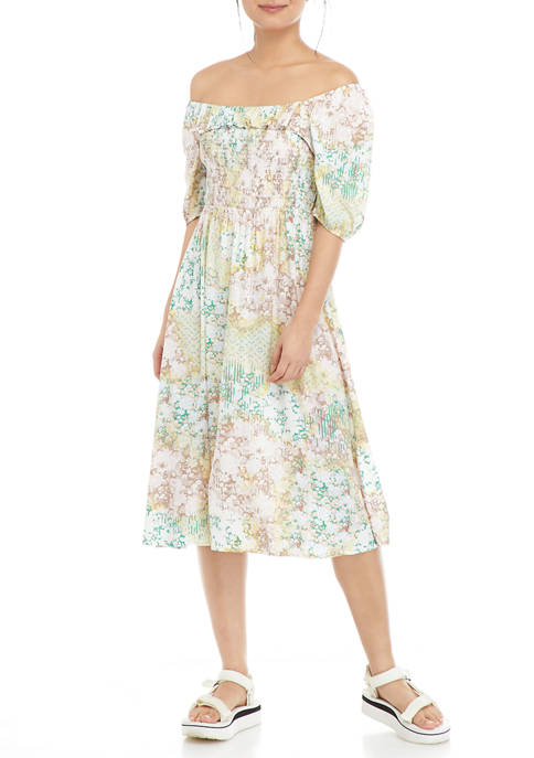 Juniors Elbow Puff Sleeve Smocked Midi Dress