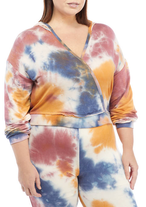 Plus Size Long Sleeve Crossover V-Neck Tie Dye Pullover