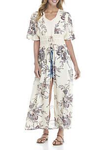 Lace Corset Printed Kimono