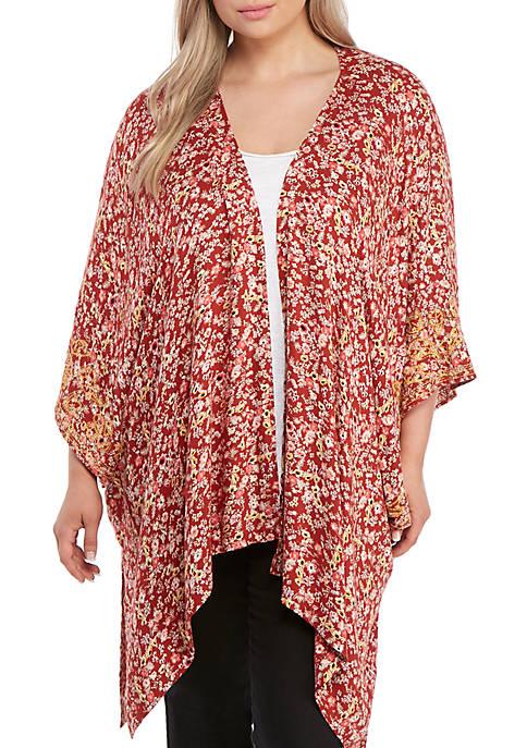 Plus Size Embroidered Floral Kimono