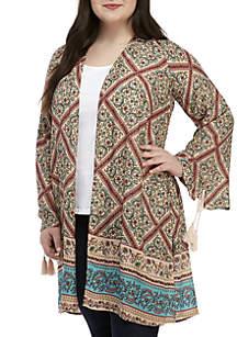 Wonderly Plus Size Tassel Sleeve Open Front Cardigan