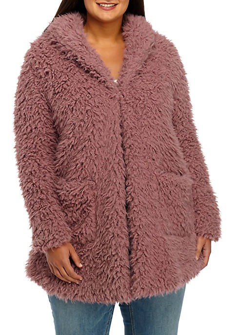 Plus Size Shag Fur Jacket