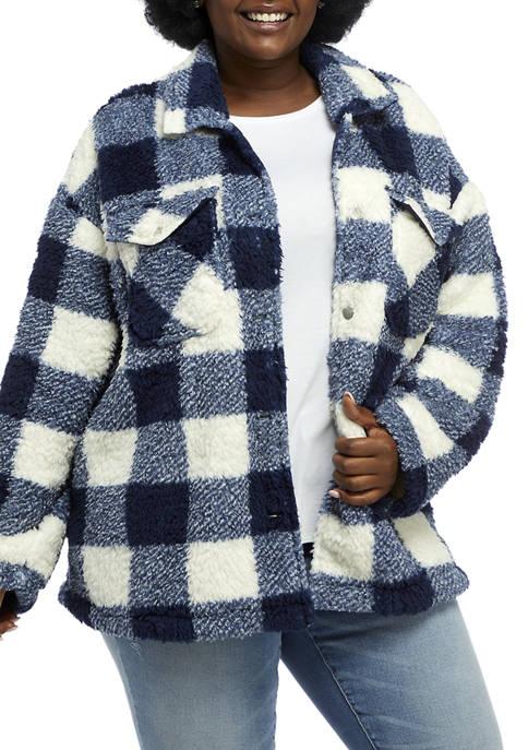 Plus Size Long Sleeve Sherpa Lined Woven Jacket