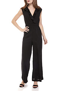 Solid Jumpsuit with Metallic Detail