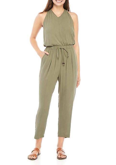 Tie Waist T Back Jumpsuit