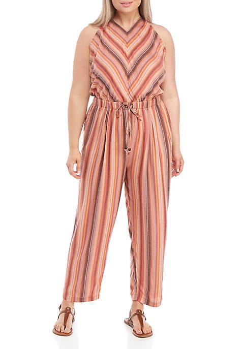 Plus Size Tie Waist T Back Jumpsuit