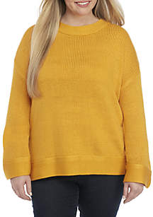 Plus Size Laceup Back Sweater