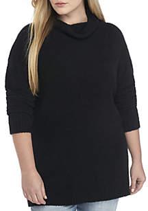 Plus Size Mock Neck Long Sleeve Tunic Sweater