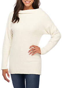 Mock Neck Long Sleeve Tunic Sweater