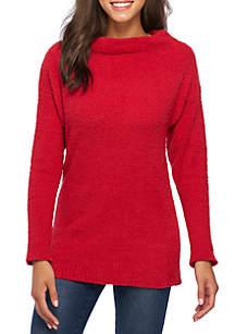 Wonderly Mock Neck Long Sleeve Tunic Sweater