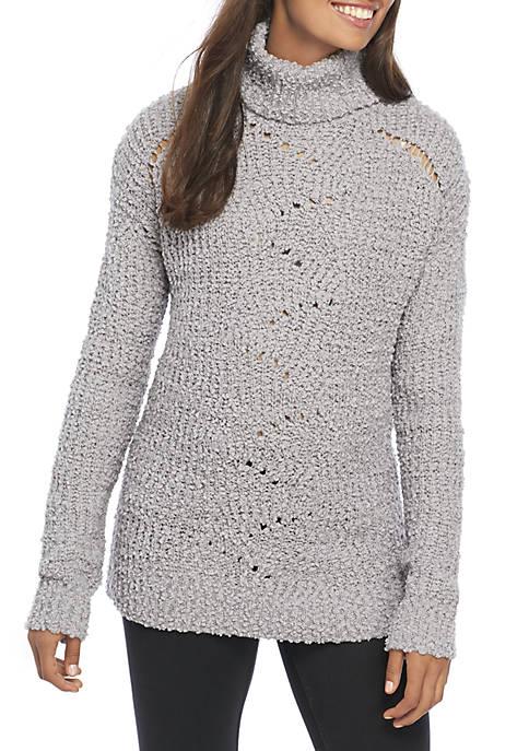 Oversized Pointelle Turtleneck Sweater