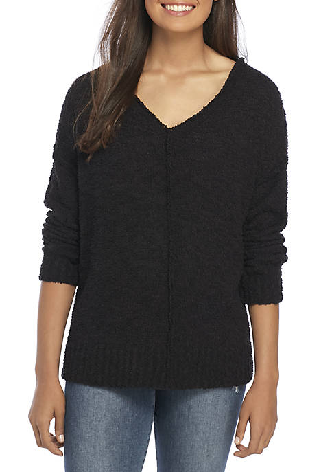 Chunky V-Neck Pullover Sweater