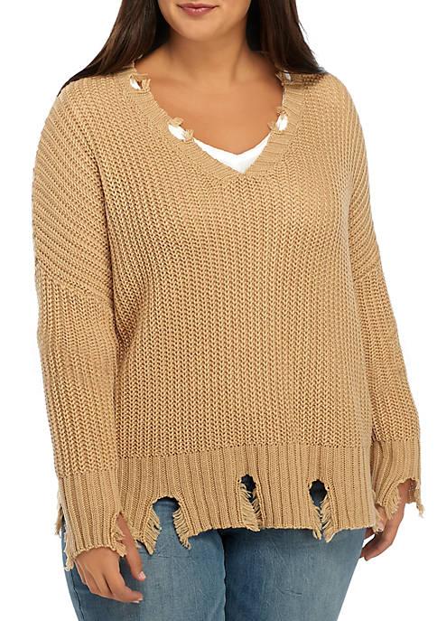 Plus Size Destructed V-Neck Sweater