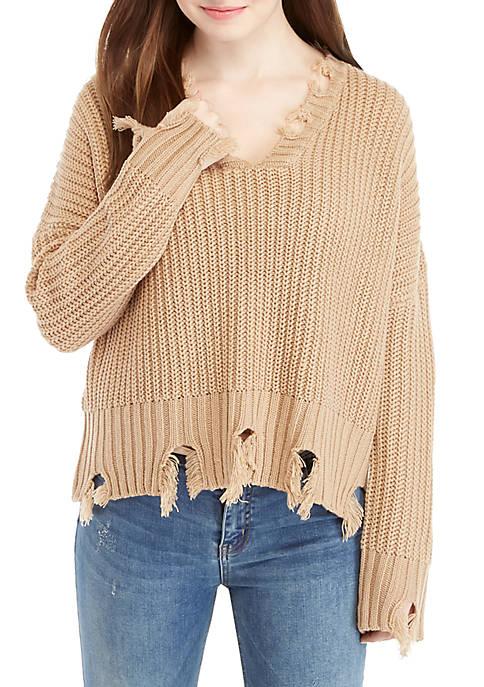 V-Neck Chewed Hem Sweater