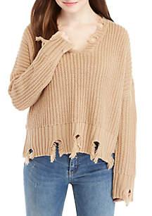 Wonderly V-Neck Chewed Hem Sweater