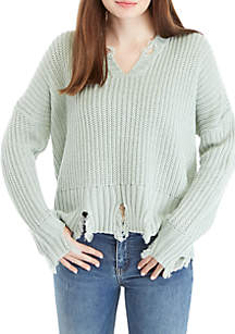 V-Neck Chewed Hem Sweater