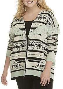 Wonderly Plus Size Fringe Cardigan