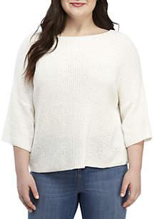 Wonderly Plus Size Boxy Woven Sweater