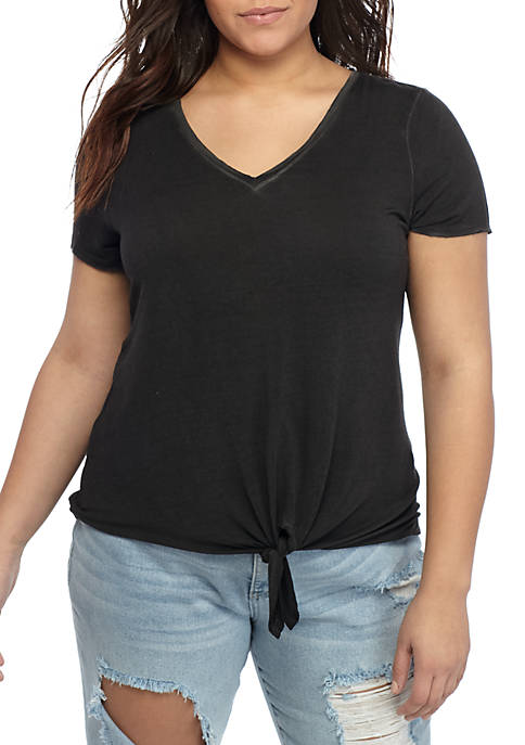 Plus Size Tie Front Jersey Knit Top
