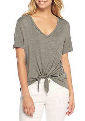 42765f732e5 Wonderly Tie Front Jersey Knit T Shirt ...