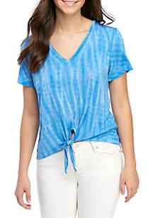 Wonderly Tie Front Jersey Knit T Shirt