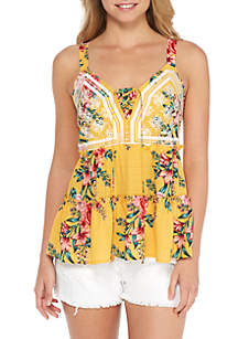 Lace-Up Floral Tank