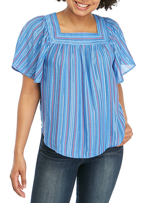 Short Sleeve Yarn Dye Stripe Top