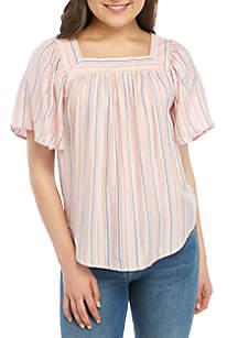 Wonderly Short Sleeve Yarn Dye Stripe Top