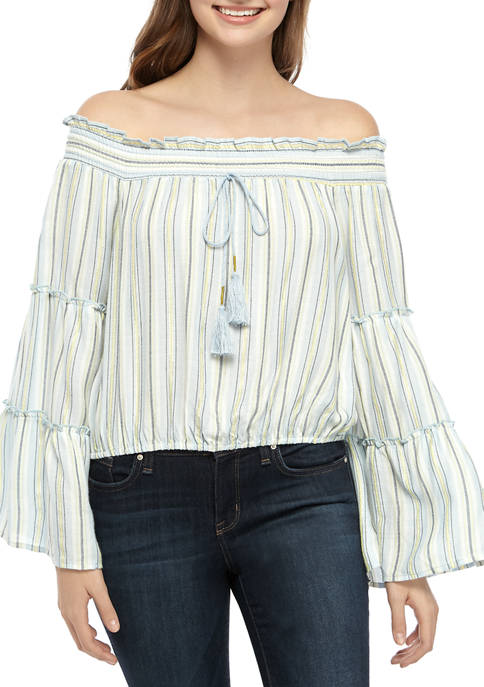 Yarn Dyed Off-the-Shoulder Stripe Woven Top