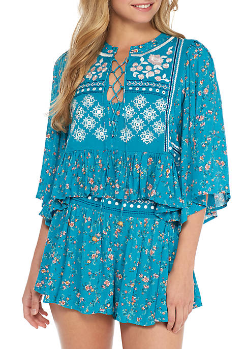 Embroidered Yoke Top