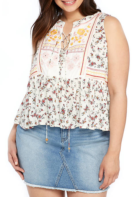 Wonderly Plus Size Sleeveless Printed Peasant Top