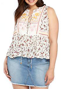 Plus Size Sleeveless Printed Peasant Top