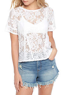 Lace Seamed Short Sleeve Tee