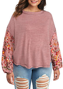 Plus Size Printed Sleeve Knit Top