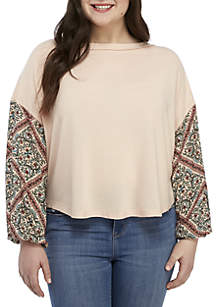Wonderly Plus Size Printed Sleeve Knit Top