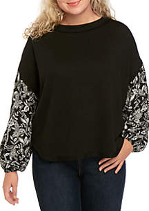 Wonderly Plus Size Printed Sleeve Knit Top