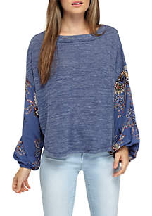 Woven Sleeve Knit Top