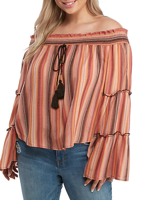 Plus Size Striped Off the Shoulder Bell Sleeve Top