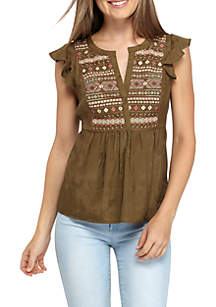 Embroidered Short Sleeve Woven Top