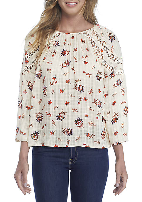 Wonderly Long Sleeve Printed Woven Top